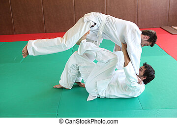 judo, hålla, ner.