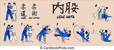 Judo martial art technique. Proyecttion Inner thigh reaping throw