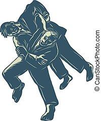 judo-judoka-throwing-scratchboard