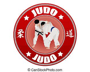 Judo label, vector illustration