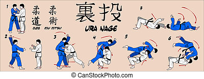 Judo Rear throw martial art technique