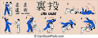 judo, rzucić, tylny