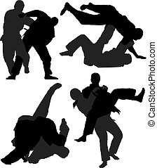 Judo Silhouette on white background