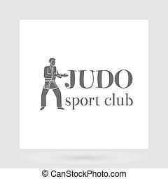 Judo sport club logo design with grey silhouette of man....