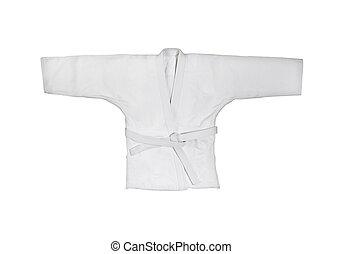judogi, con, blanco, cinturón