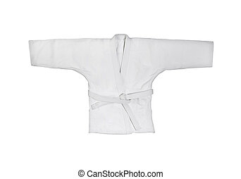 judogi, noha, fehér, öv