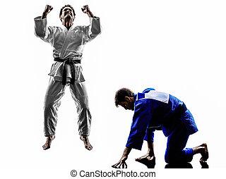 judokas, combattenti, combattimento, uomini, silhouette