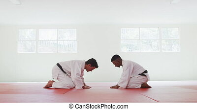 Side view of mixed race male judo coach and teenage mixed race male judoka wearing white judogi, bowing and kneeling on mats in the gym, looking at each other before judo training in slow motion,
