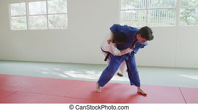 Judokas training by doing a randori on the judo mat - Front ...