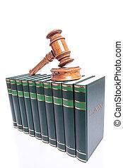 jueces, martillo, en, libros de ley