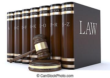 jueces, martillo, y, libros de ley