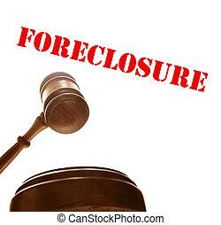 jueces, tribunal, ejecución hipoteca, texto, martillo, ...
