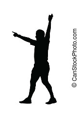 juego, árbitro, silueta, potro, fútbol, -, rugby, deporte, ...