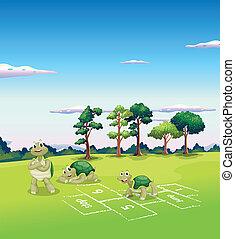 juego, árbol, tortugas