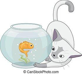 juego, Acuario, pez, gato