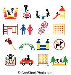 juego, al aire libre, niños, iconos, interior, o, conjunto, lugar, patio de recreo, niños