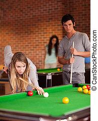 juego, amigos, snooker, retrato