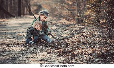 juego, bosque, niños