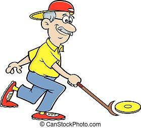 juego, caricatura, shuffleboard., jubilado