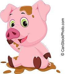 juego, cerdo, caricatura, barro