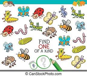 juego, clase, animales, insecto, uno