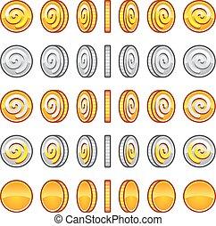 juego, coins, rotación, conjunto
