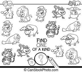 juego, color de los animales, uno, clase, salvaje, libro