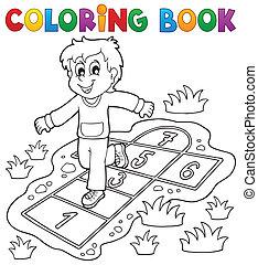 juego, colorido, niños, tema, libro, 4