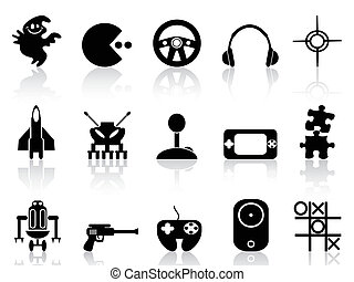 juego, computadora, negro, icono