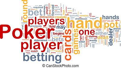 juego, concepto, el apostar, ilustración, wordcloud, plano ...
