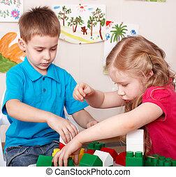 juego, conjunto construcción, niño