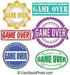 juego, conjunto, encima, sellos