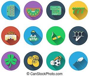 juego, conjunto, iconos