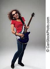 juego de guitarra, hembra, rockstar