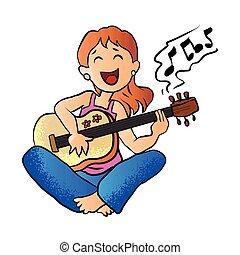juego de guitarra, niña
