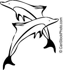 juego, delfín
