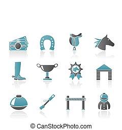 juego, el competir con del caballo, iconos