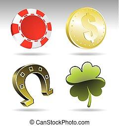 juego, elementos, ilustración, casino