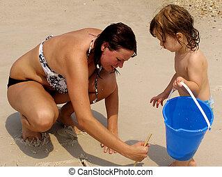 juego, en, playa