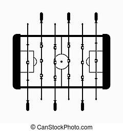 juego, fútbol, pateador, tabla, superficie mesa, o, futbol