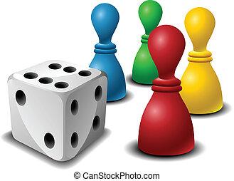 juego, figuras, tabla, dados