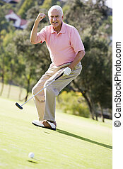 juego, golf, juego, hombre