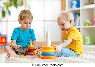 juego, guardería infantil, hermanos, juntos, niños