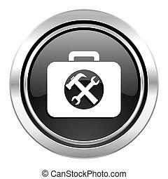 juego herramientas, icono, negro, cromo, botón, servicio,...