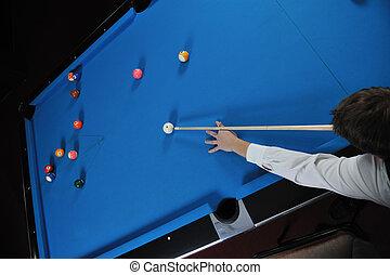 juego, hombre, profesional, billiard, juego, joven