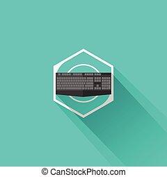 juego, icono, engranaje, plano, teclado