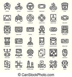 juego, icono, tecnología, contorno