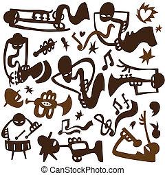 juego, jazz, tubos, músicos