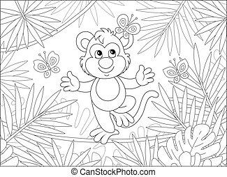 juego, mono, divertido, mariposas