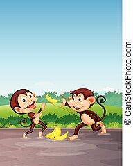 juego, mono, plátano